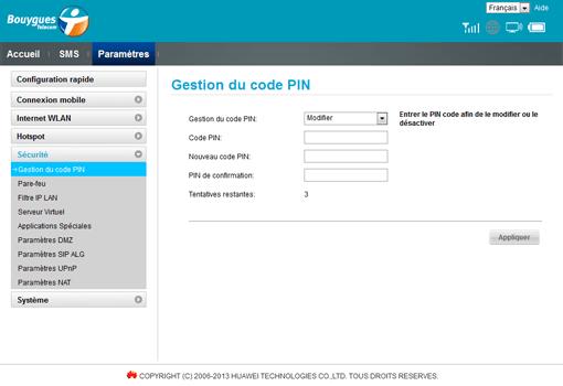 Huawei E5573B - Sécuriser votre mobile - Personnaliser le code PIN - Étape 7