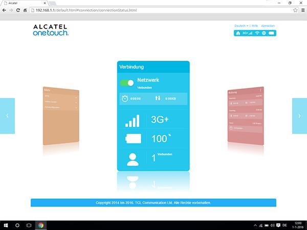 Alcatel MiFi Y900 - Einstellungen - Benutzereinstellungen anzeigen - Schritt 1