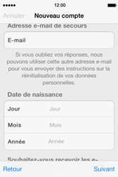Apple iPhone 4 S iOS 7 - Applications - Créer un compte - Étape 15