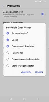 Samsung Galaxy S8 Plus - Datenschutz und Sicherheit - Cookies und Verlauf löschen - 10 / 12
