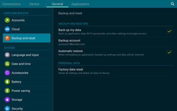 Samsung T805 Galaxy Tab S - Mobile phone - Resetting to factory settings - Step 6