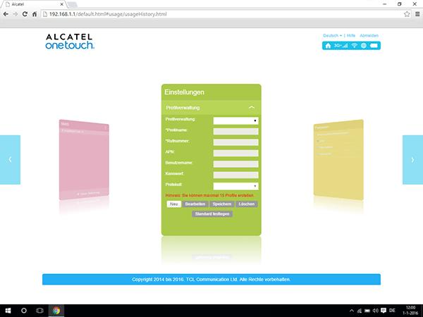 Alcatel MiFi Y900 - Einstellungen - Benutzereinstellungen anzeigen - Schritt 4