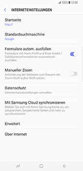 Samsung Galaxy S8 Plus - Datenschutz und Sicherheit - Datenschutzeinstellungen des Browsers ändern - 8 / 18
