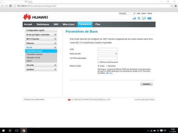 Huawei E5770 - Paramètres - Modifier le nom et le mot de passe du réseau - Étape 5