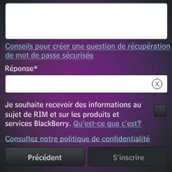 BlackBerry Q10 - Premiers pas - Créer un compte - Étape 15