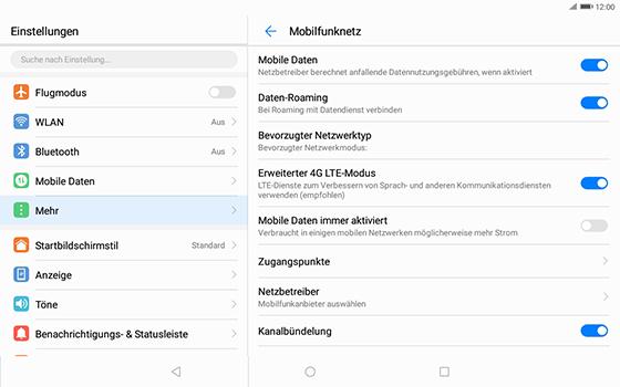 Huawei MediaPad T3 (10.0) LTE - Ausland - Im Ausland surfen – Datenroaming - 10 / 12