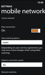 Nokia Lumia 800 / Lumia 900 - Internet and data roaming - Disabling data roaming - Step 5