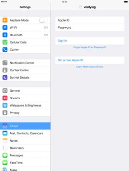 Apple iPad Air - Applications - Configuring the Apple iCloud Service - Step 5