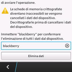 BlackBerry Q10 - Dispositivo - Ripristino delle impostazioni originali - Fase 8