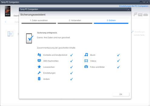 Sony Xperia Z1 Compact - Software - Eine Sicherungskopie des Geräts erstellen - Schritt 10