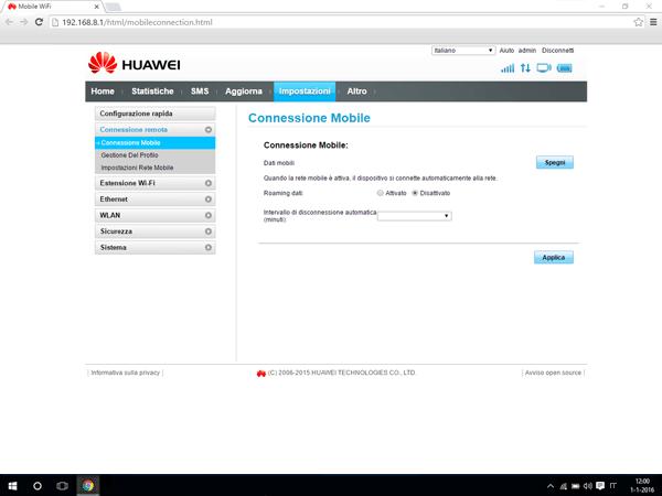 Huawei E5770 - Internet e roaming dati - Disattivazione del roaming dati - Fase 5