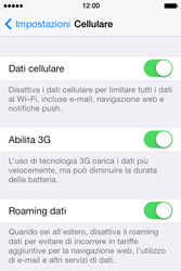 Apple iPhone 4S iOS 7 - Internet e roaming dati - Disattivazione del roaming dati - Fase 4