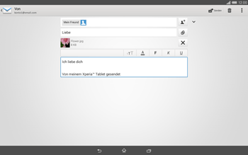 Sony Xperia Tablet Z2 LTE - E-Mail - E-Mail versenden - 1 / 1