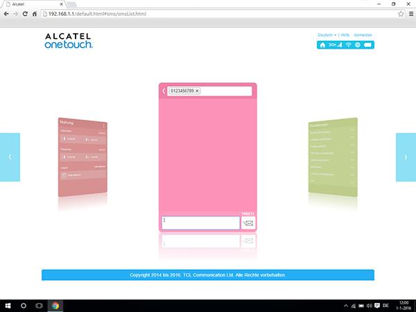 Alcatel MiFi Y900 - Einstellungen - Senden von SMS - Schritt 4