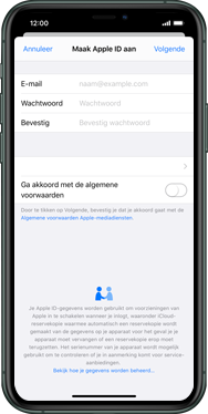 Apple iphone-11-pro-max-model-a2218 - Applicaties - Account aanmaken - Stap 9