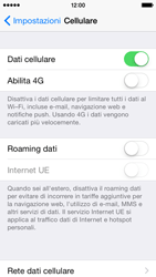 Apple iPhone 5s - iOS 8 - Internet e roaming dati - Disattivazione del roaming dati - Fase 5