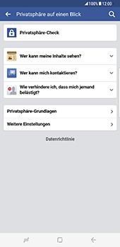 Samsung Galaxy S8 Plus - Datenschutz und Sicherheit - Datenschutzeinstellungen von Facebook ändern - 20 / 35