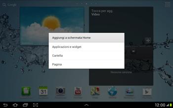 Samsung Galaxy Tab 2 10.1 - Operazioni iniziali - Installazione di widget e applicazioni nella schermata iniziale - Fase 4