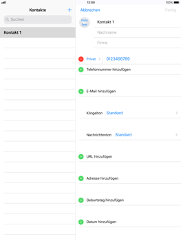 Apple iPad Air - Kontakte - Neuen Kontakt hinzufügen - 9 / 12