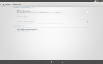 Sony Xperia Tablet Z2 LTE - Gerät - Zurücksetzen auf die Werkseinstellungen - Schritt 5