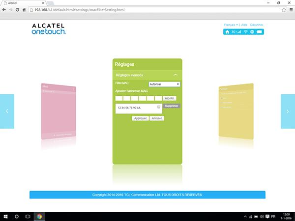 Alcatel MiFi Y900 - Paramètres - Activer un filtre MAC - Étape 11
