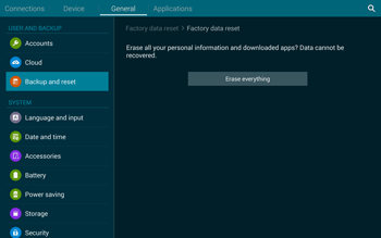 Samsung T805 Galaxy Tab S - Mobile phone - Resetting to factory settings - Step 8