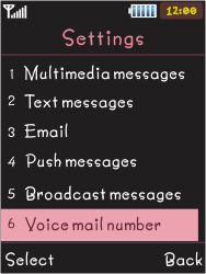 Samsung S5050 Allure S - Voicemail - Manual configuration - Step 5