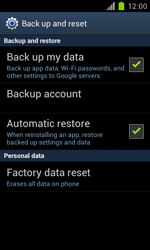 Samsung Galaxy S II - Mobile phone - Resetting to factory settings - Step 5