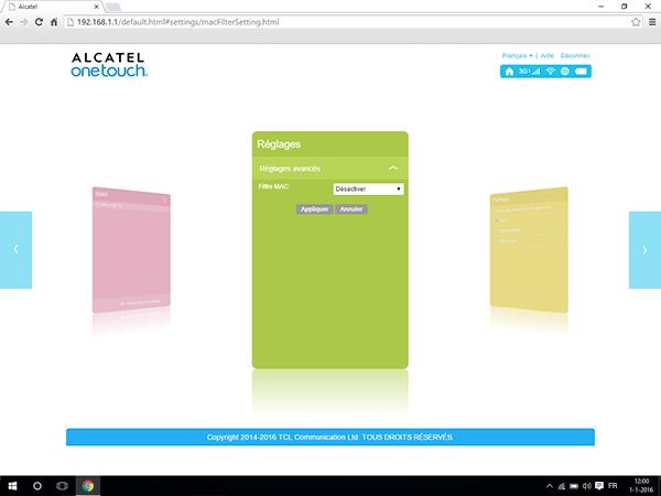 Alcatel MiFi Y900 - Paramètres - Activer un filtre MAC - Étape 5