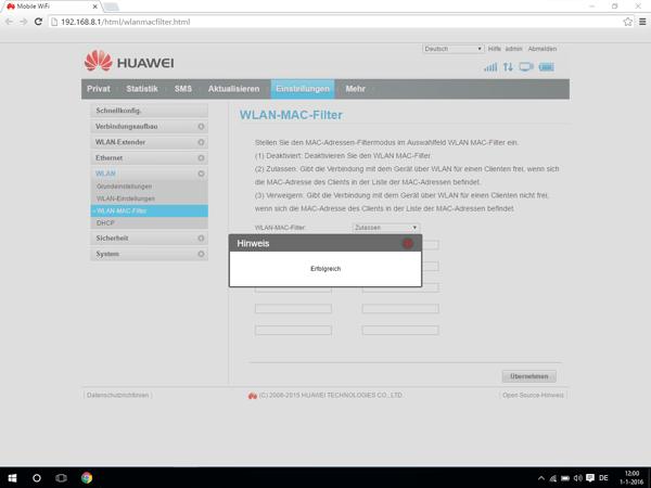 Huawei E5770 - Einstellungen - MAC-Filter aktivieren - Schritt 8