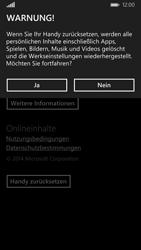 Nokia Lumia 830 - Fehlerbehebung - Handy zurücksetzen - Schritt 8