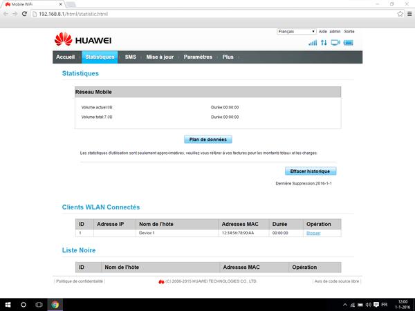 Huawei E5770 - Paramètres - Modifier les paramètres d'utilisation - Étape 2