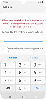 Samsung Galaxy A40 - Sécuriser votre mobile - Activer le code de verrouillage - Étape 7