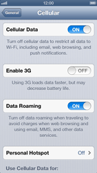 Apple iPhone 5 - Internet and data roaming - Disabling data roaming - Step 5