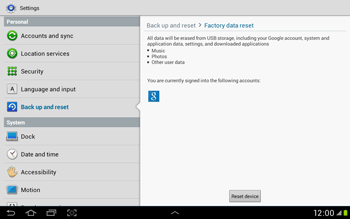 Samsung Galaxy Tab 2 10.1 - Mobile phone - Resetting to factory settings - Step 6