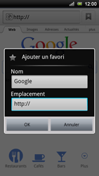 Sony Xperia Ray - Internet - Navigation sur Internet - Étape 5