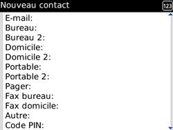 BlackBerry curve 3G - Contact, Appels, SMS/MMS - Ajouter un contact - Étape 7