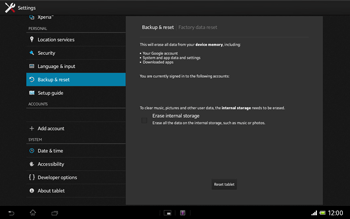 Sony Xperia Tablet Z LTE - Mobile phone - Resetting to factory settings - Step 6