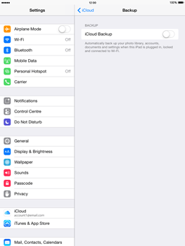 Apple iPad mini - iOS 8 - Applications - Configuring the Apple iCloud Service - Step 12