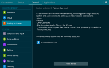 Samsung T805 Galaxy Tab S - Mobile phone - Resetting to factory settings - Step 7