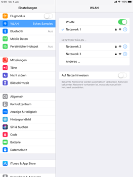 Apple iPad Air - iOS 12 - WLAN - Manuelle Konfiguration - Schritt 7
