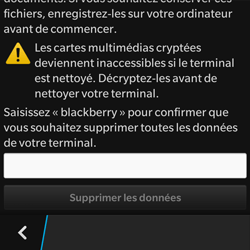 BlackBerry Q10 - Aller plus loin - Restaurer les paramètres d'usines - Étape 6