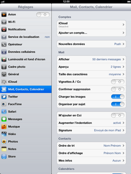 Apple iPad - E-mail - Configurer l