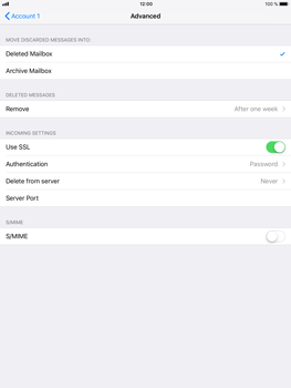 Apple iPad Air 2 - iOS 11 - E-mail - Manual configuration POP3 with SMTP verification - Step 23
