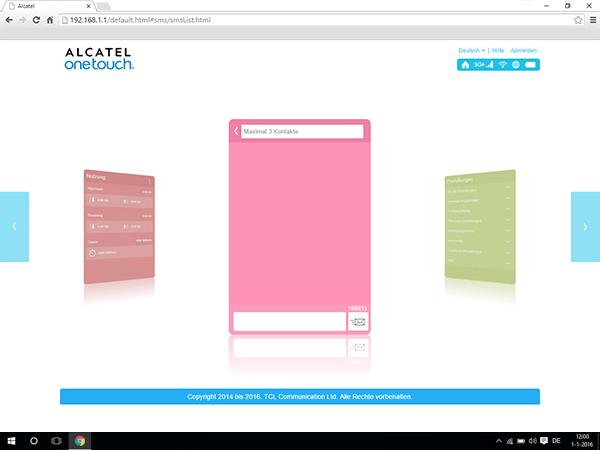 Alcatel MiFi Y900 - Einstellungen - Senden von SMS - Schritt 3