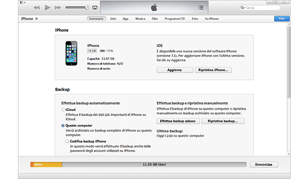 Apple iPhone 5c - Software - Come eseguire un backup del dispositivo - Fase 4