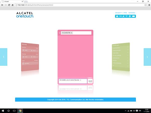 Alcatel MiFi Y900 - Einstellungen - Senden von SMS - Schritt 5