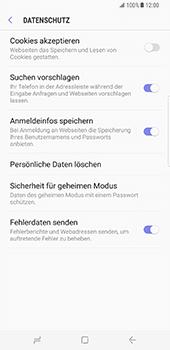 Samsung Galaxy S8 Plus - Datenschutz und Sicherheit - Datenschutzeinstellungen des Browsers ändern - 17 / 18