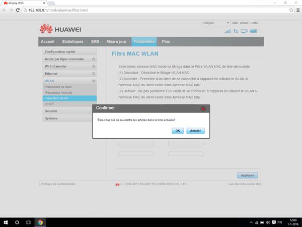 Huawei E5770 - Paramètres - Activer un filtre MAC - Étape 7