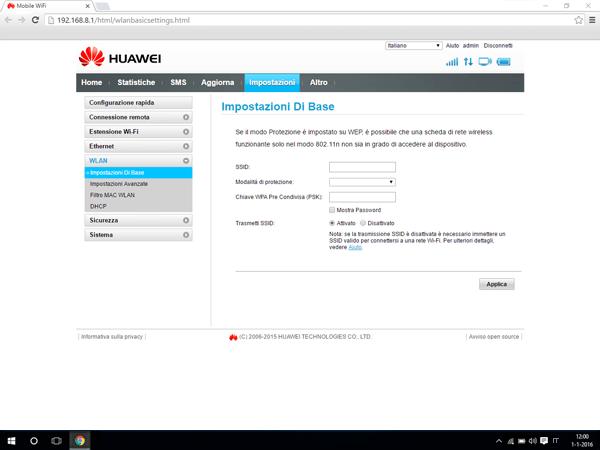 Huawei E5770 - Impostazioni - Modificare nome della rete e password - Fase 5